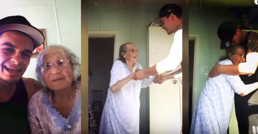 Így táncol az unoka a 93 éves nagymamával